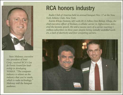 RCR Wireless News published RCA's banquet press release in December 2006