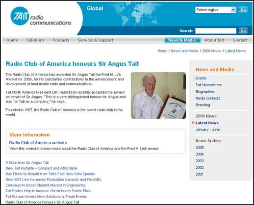 The Taitworld website of Tait Radio Communications in New Zealand published RCA's press release about Sir Angus Tait, ZL3NL, receiving the Fred M. Link Award in November 2006.