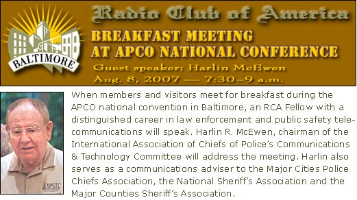 Harlin R. McEwen to be guest speaker at RCA breakfast meeting