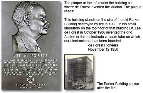 Plaque for the site of the Parker Building in New York where Lee de Forest, Ph.D., invented the Audion in 1906. The Parker Building was destroyed by fire in 1098.
