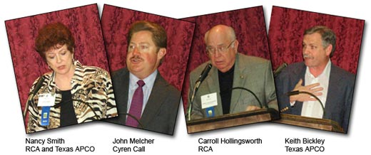 Nancy Smith, John Melcher, Carroll Hollingsworth and Keith Bickley at the RCA Texas Dinner, April 17, 2007