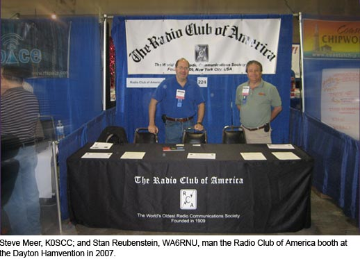 Steve Meer, K0SCC; and Stan Reubenstein, WA6RNU, at the Radio Club of America booth at the Dayton Hamvention in May 2007.