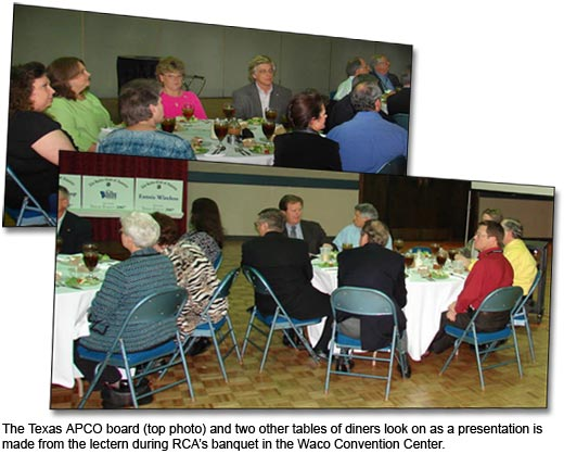 The Texas APCO board (top photo) and two other tables of diners look on as a presentation is made from the lectern during RCA's banquet at the Waco Convention Center.