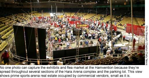No one photo can capture the exhibits and flea market at the Hamvention because they are spread throughout several sections of the Hara Arena complex and the parking lot. This view shows prime sports-arena real estate occupied by commercial vendors, small as it is.