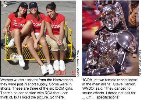 ICOM girls and the ICOM robot.