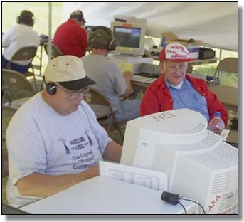At the right, Howard at an SARA amateur radio Field Day operation.