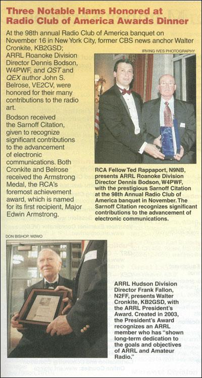 ARRL QST February 2007 RCA banquet story.